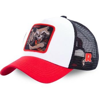 Cappellino trucker bianco, nero e rosso Rocket Raccoon ROC2 Marvel Comics di Capslab