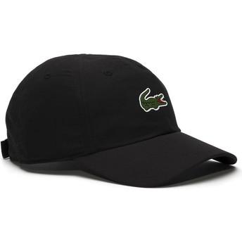 Cappellino visiera curva nero regolabile Croc Microfibre di Lacoste