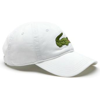 Cappellino visiera curva bianco regolabile Big Croc Gabardine di Lacoste