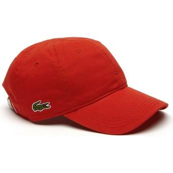 Cappellino visiera curva rosso regolabile Basic Side Crocodile di Lacoste