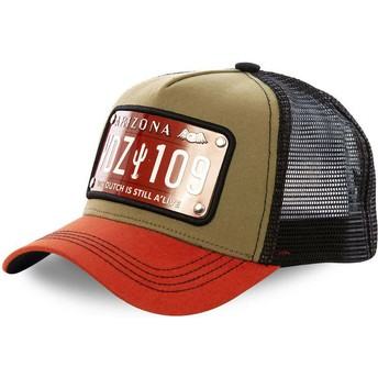 Cappellino trucker marrone, nero e arancione con placca Arizona ARI2 di Von Dutch