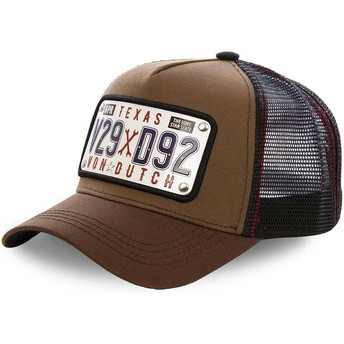 Cappellino trucker marrone con placca Texas TEX1 di Von Dutch