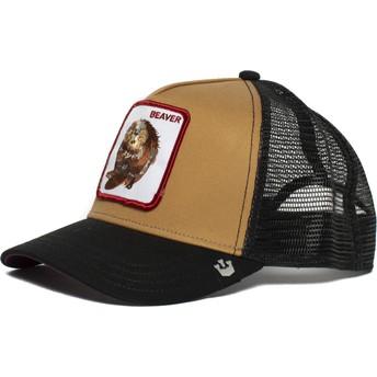 Cappellino trucker marrone e nero castoro Two Beavers di Goorin Bros.