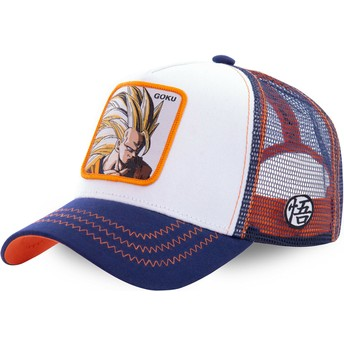 Cappellino trucker bianco, blu e arancione Son Goku Super Saiyan 3 SAN2 Dragon Ball di Capslab