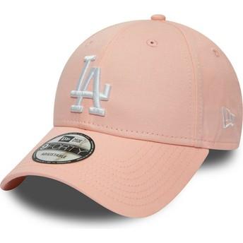 Cappellino visiera curva rosa regolabile 9FORTY League Essential di Los Angeles Dodgers MLB di New Era