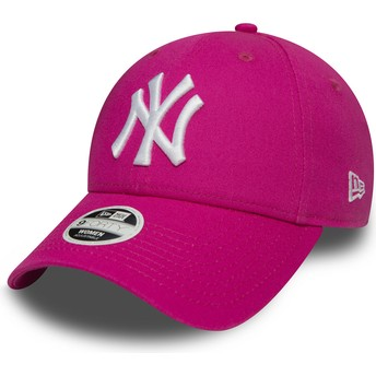 Cappellino visiera curva rosa regolabile 9FORTY Essential di New York Yankees MLB di New Era