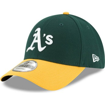 Cappellino visiera curva verde e giallo regolabile 9FORTY The League di Oakland Athletics MLB di New Era
