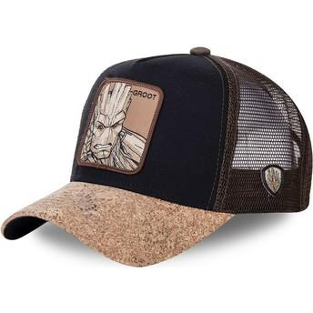 Cappellino trucker nero e marrone con visiera in sughero Groot GRO4 Marvel Comics di Capslab