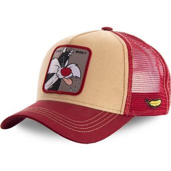 Cappellino trucker arancione e rosso Silvestro LOOMIN2 Looney Tunes di Capslab
