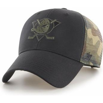 Cappellino trucker nero e mimetico MVP Back Switch di Anaheim Ducks NHL di 47 Brand