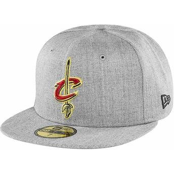 Cappellino visiera piatta grigio aderente 59FIFTY Heather di Cleveland Cavaliers NBA di New Era