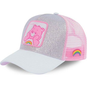 Capslab Cheer Bear CAL Care Bears Grey and Pink Glitter Trucker Hat