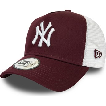 New Era Essential A Frame New York Yankees MLB Maroon and White Trucker Hat