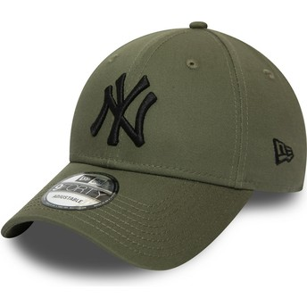New Era Curved Brim Black Logo 9FORTY Essential New York Yankees MLB Green Adjustable Cap
