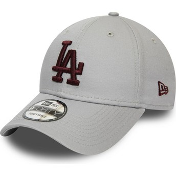 New Era Curved Brim Maroon Logo 9FORTY Essential Los Angeles Dodgers MLB Grey Adjustable Cap