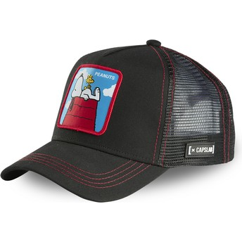 Capslab Doghouse, Snoopy and Woodstock PCL Peanuts Black Trucker Hat
