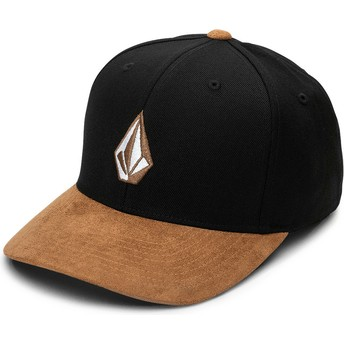 Volcom Curved Brim Asphalt Black Full Stone Hthr Xfit Black Fitted Cap with Brown Visor