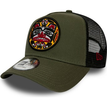 New Era Tattoo Pack A Frame Green Trucker Hat