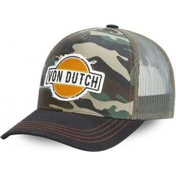 Von Dutch CAM Camouflage and Black Trucker Hat