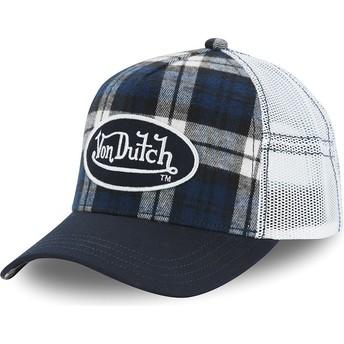 Von Dutch CAR A5 White and Blue Checkered Trucker Hat