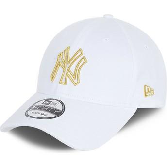 New Era Curved Brim 9FORTY Metallic Logo New York Yankees MLB White Adjustable Cap