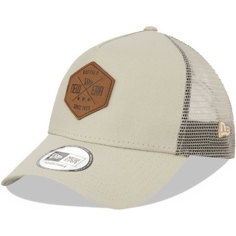 New Era A Frame 9FORTY Heritage Patch Grey Trucker Hat