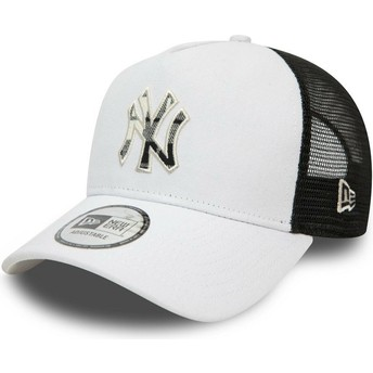 New Era Check Infill A Frame New York Yankees MLB Grey Trucker Hat