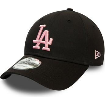 New Era Curved Brim Pink Logo 9FORTY League Essential Los Angeles Dodgers MLB Black Adjustable Cap