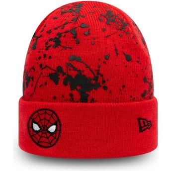New Era Youth Spider-Man Cuff Knit Paint Splat Marvel Comics Red Beanie