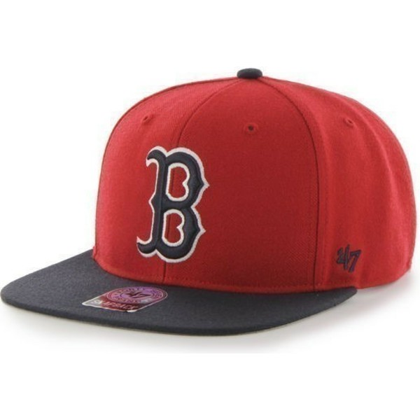 cappellino-visiera-piatta-rosso-snapback-di-boston-red-sox-mlb-sure-shot-di-47-brand