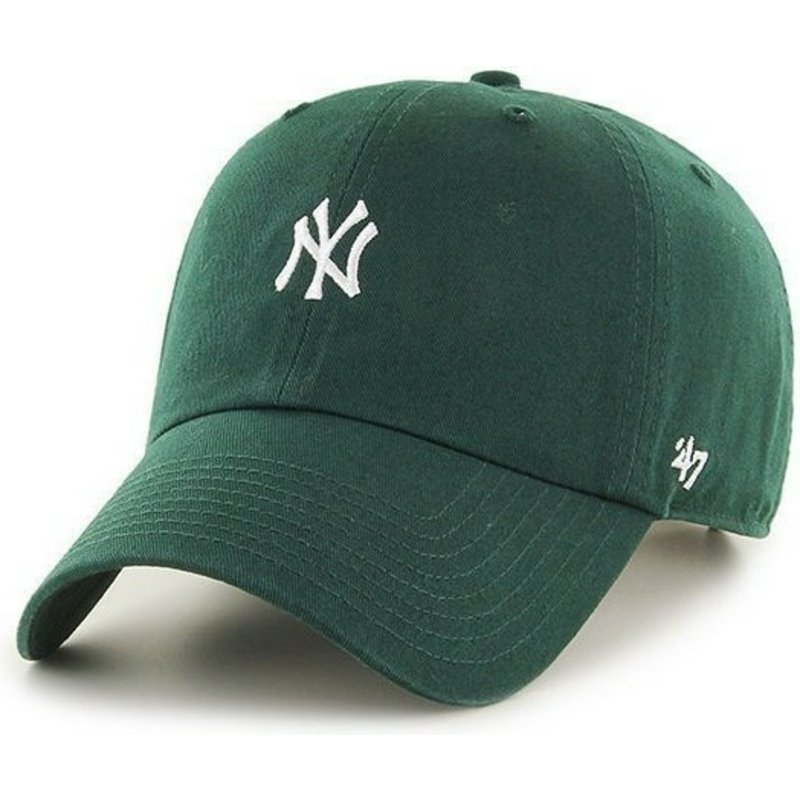 cappellino-visiera-curva-verde-con-piccolo-logodi-new-york-yankees-mlb-clean-up-di-47-brand