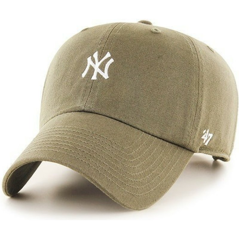 cappellino-visiera-curva-marrone-con-piccolo-logo-di-new-york-yankees-mlb-clean-up-di-47-brand