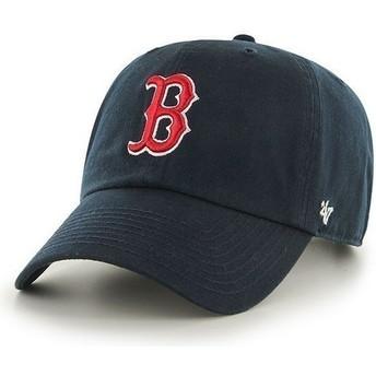 Cappellino visiera curva blu marino di Boston Red Sox MLB Clean Up di 47 Brand