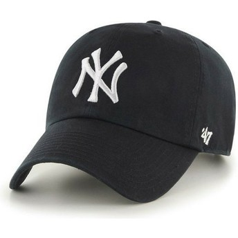Cappellino visiera curva nero di New York Yankees MLB Clean Up di 47 Brand