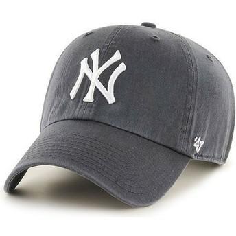 Cappellino visiera curva grigio scuro di New York Yankees MLB Clean Up di 47 Brand