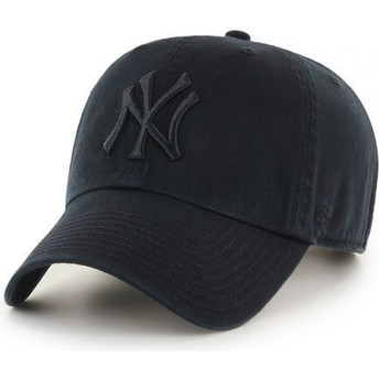 Cappellino visiera curva nero scuro con logo nero di New York Yankees MLB Clean Up di 47 Brand