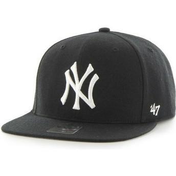 Cappellino visiera piatta nero snapback tinta unita di MLB New York Yankees di 47 Brand