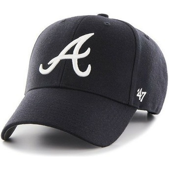 Cappellino visiera curva blu marino tinta unita di MLB Atlanta Braves di 47 Brand