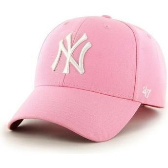 Cappellino visiera curva rosa tinta unita di MLB New York Yankees di 47 Brand