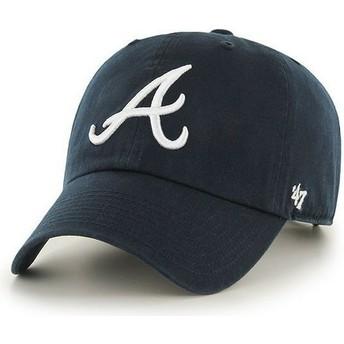 Cappellino visiera curva blu marino con logo frontale di MLB Atlanta Braves di 47 Brand