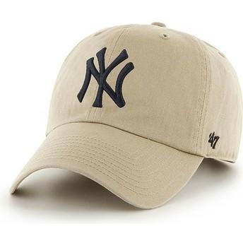 Cappellino visiera curva beige con logo frontale grande di MLB New York Yankees di 47 Brand