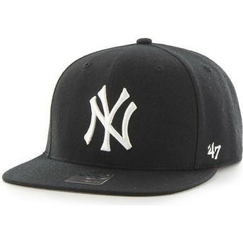 Cappellino visiera piatta nero snapback per bambino di New York Yankees MLB di 47 Brand