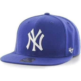 Cappellino visiera piatta blu snapback per bambino di New York Yankees MLB di 47 Brand