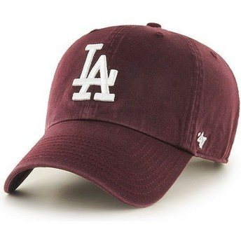 Cappellino visiera curva bordeaux di Los Angeles Dodgers MLB Clean Up di 47 Brand