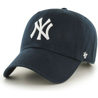 Cappellino visiera curva blu marino di New York Yankees MLB Clean Up di 47 Brand