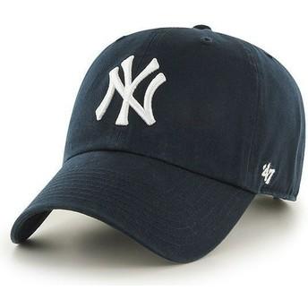 Cappellino visiera curva blu marino di New York Yankees MLB Clean Up di 47 Brand