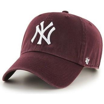 Cappellino visiera curva bordeaux di New York Yankees MLB Clean Up di 47 Brand