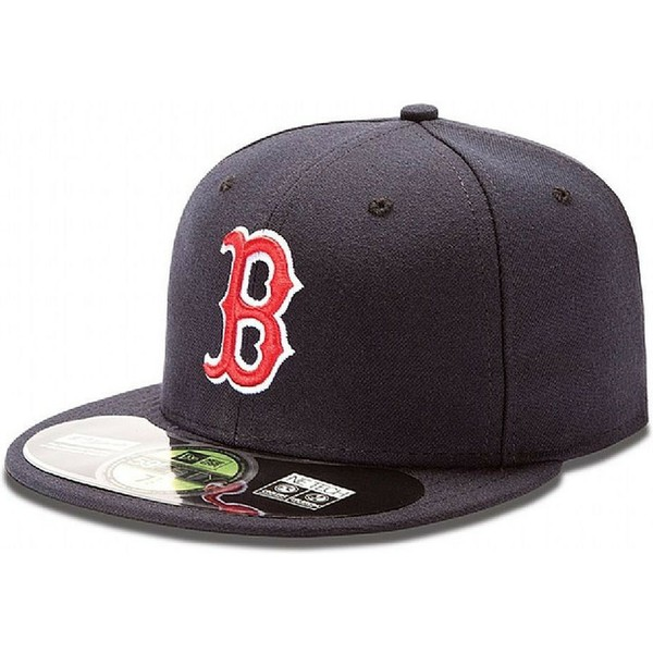 cappellino-visiera-piatta-blu-marino-aderente-59fifty-authentic-on-field-di-boston-red-sox-mlb-di-new-era