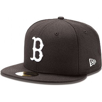 Cappellino visiera piatta nero aderente 59FIFTY Essential di Boston Red Sox MLB di New Era