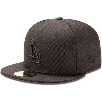 Cappellino visiera piatta nero aderente 59FIFTY Black on Black di Los Angeles Dodgers MLB di New Era